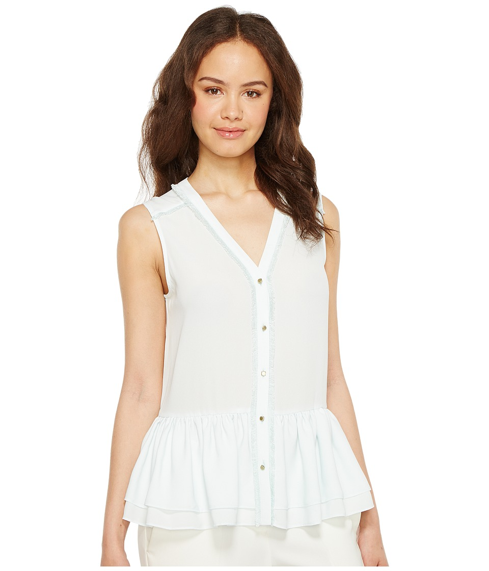 Ivanka Trump - Woven Sleeveless Peplum Button Down Blouse (Mint) Women's Blouse