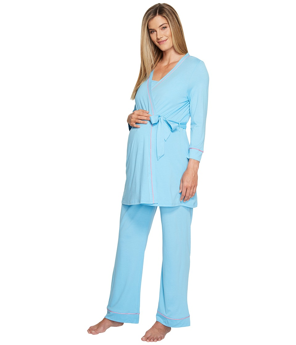 Cosabella - Bella Maternity Three-Piece PJ Set (Blue Bird/Pink Lemonade) Women's Pajama Sets