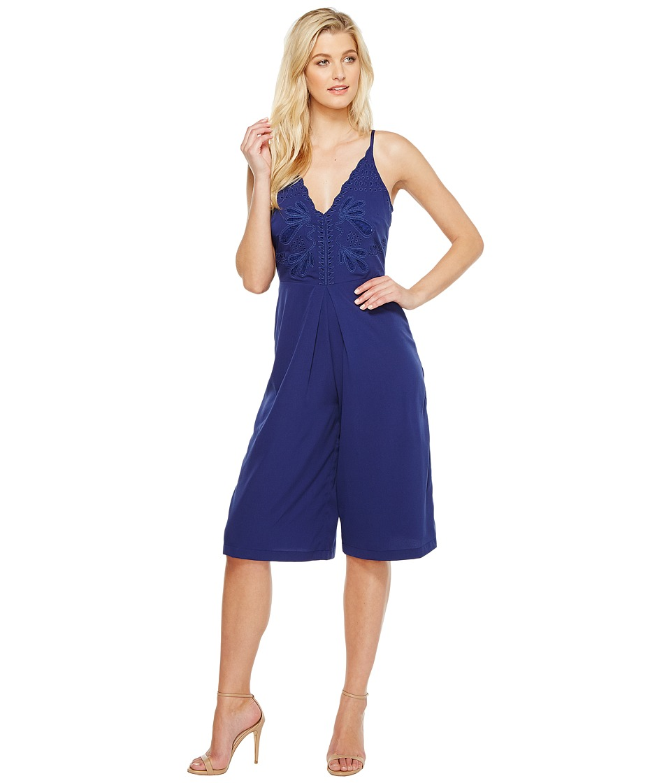 Adelyn Rae - Emelia Woven Culotte (Navy) Women's Jumpsuit & Rompers One Piece