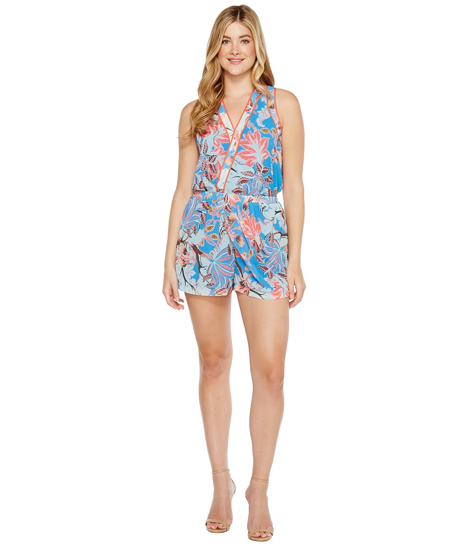 Image of Adelyn Rae - Acacia Woven Surplice Romper (Blue/Orange) Women's Jumpsuit & Rompers One Piece