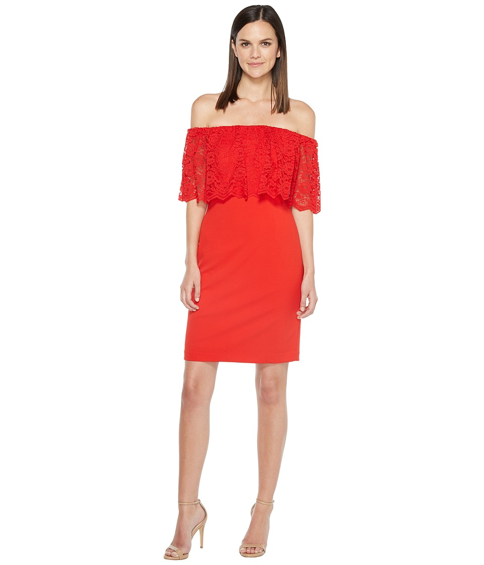 Aidan Mattox - Off the Shoulder Lace Cocktail (Red) Women's Dress