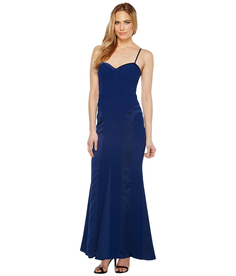 Aidan Mattox Crepe and Charmeuse Gown (Navy) Women