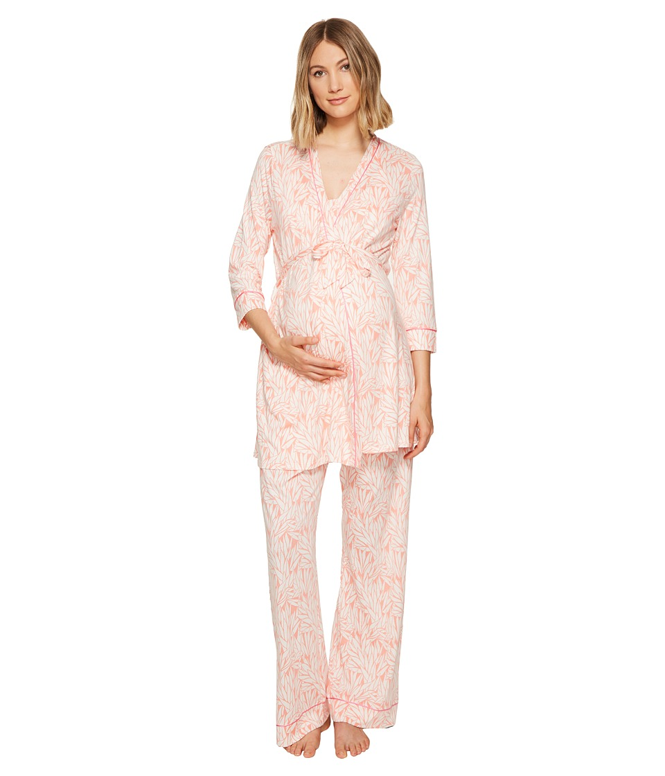 Cosabella - Bella Maternity Print Three-Piece PJ Set (Vintage Plum Peach Nectar/Pink Lemonade) Women's Pajama Sets