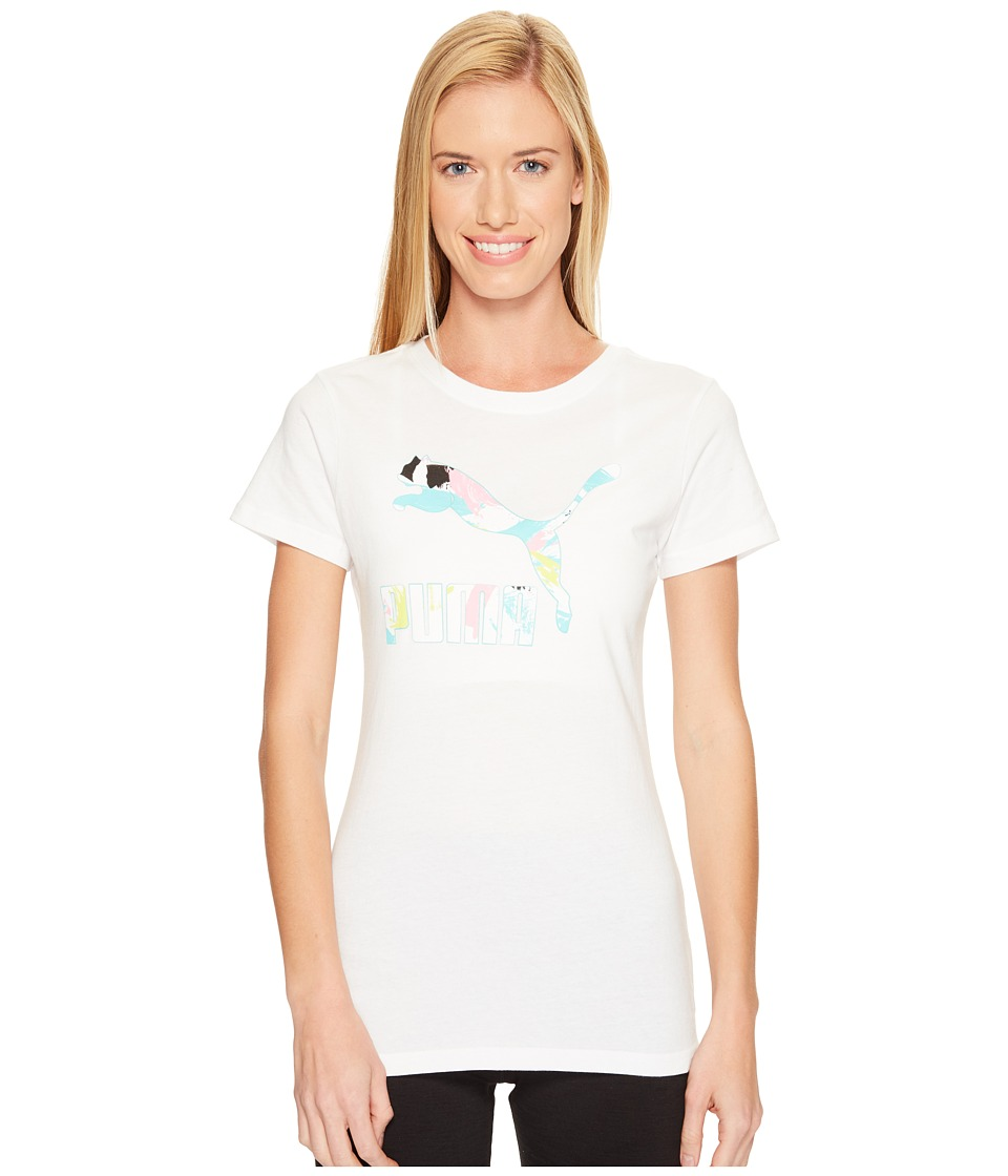 PUMA - Archive Logo Fill Tee (Puma White/Aruba Blue) Women's T Shirt