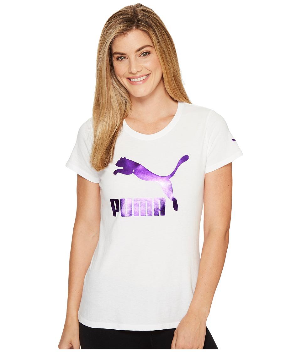 PUMA - Archive Logo Iridescent Tee (Puma White/Iridescent Purple) Women's T Shirt