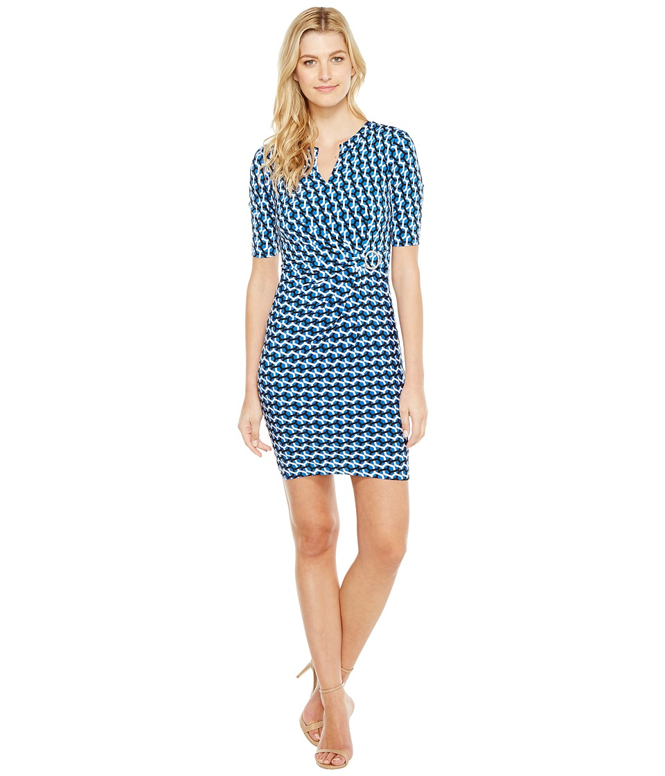 Tahari by ASL - Jersey Geo Print Sheath (Royal/Black/White) Women's Dress