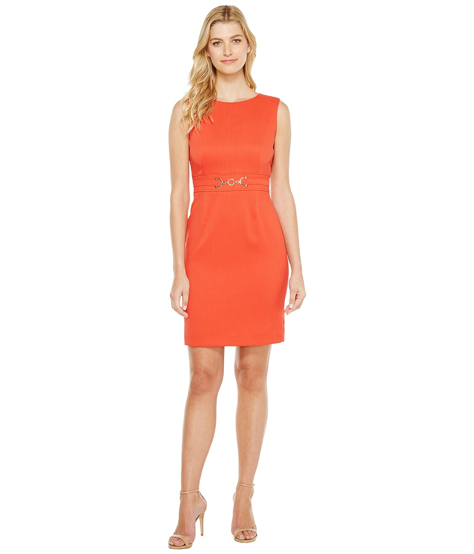 Tahari by ASL - Pique Sheath w/ Hardware (Papaya) Women's Dress