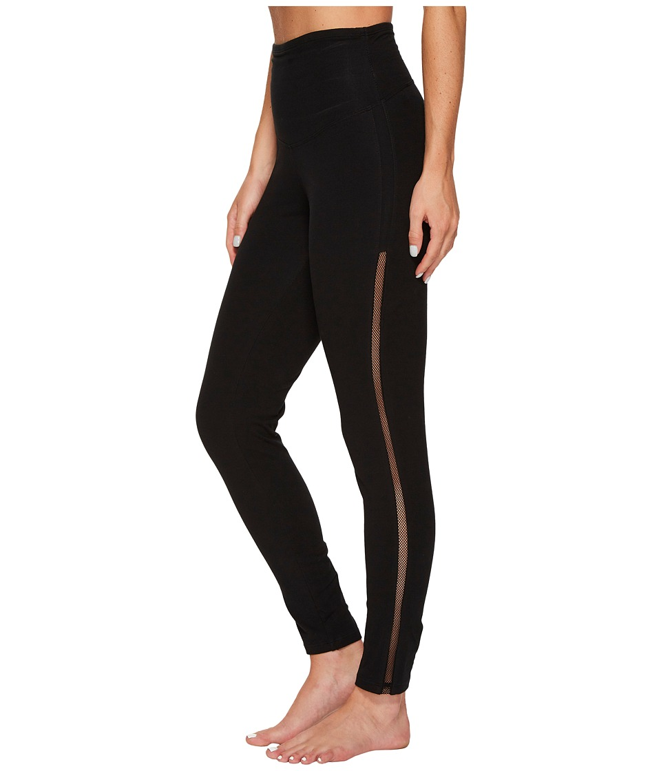 Yummie - Leggings with Mesh Elastic at Sides (Black) Women's Casual Pants