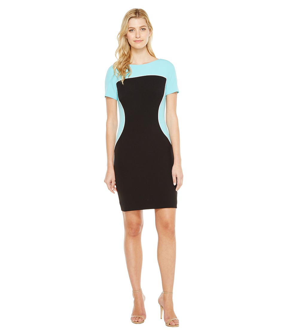 Tahari by ASL - Sleeved Color Block Sheath (Black/Blue/White) Women's Dress