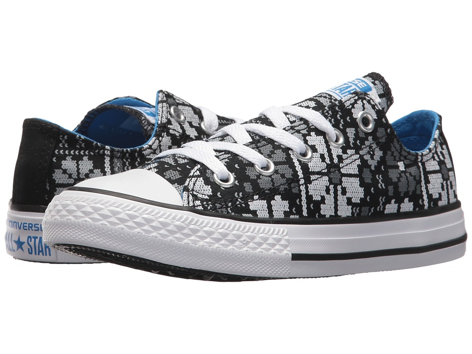 Converse Kids Chuck Taylor All Star Ox (Little Kid/Big Kid) (Black/Italy Blue/White) Girls Shoes