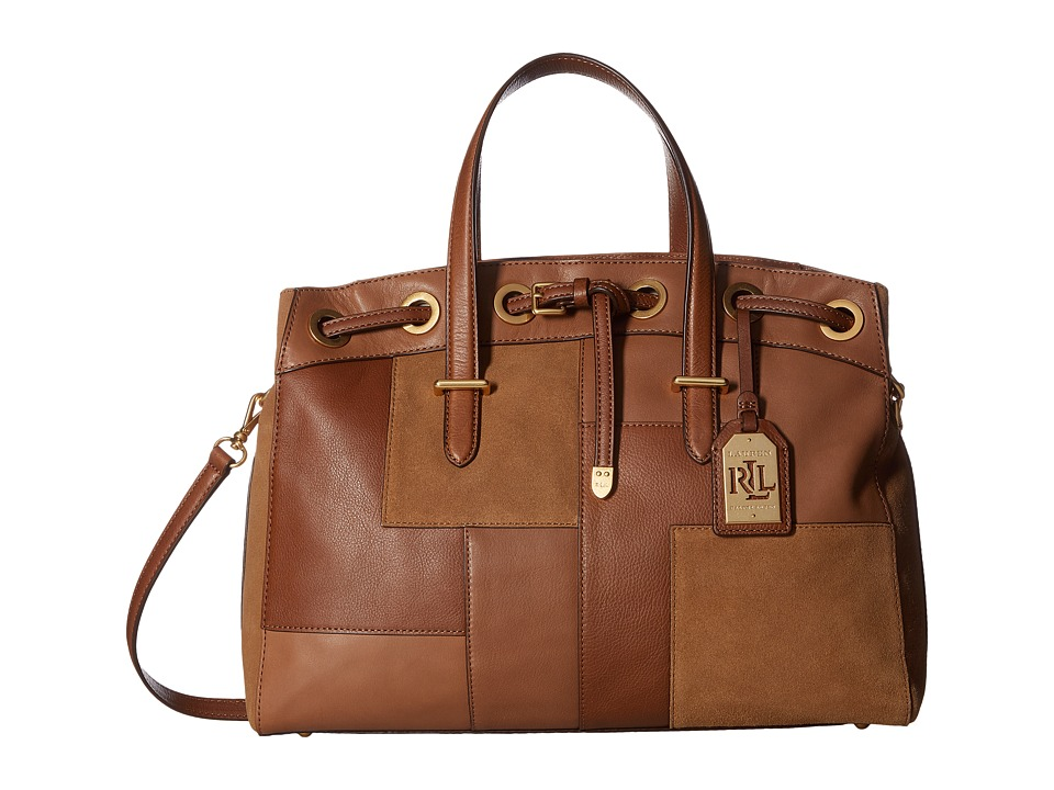 LAUREN Ralph Lauren - Cardwell Flannery Satchel Large (Nutmeg) Satchel Handbags