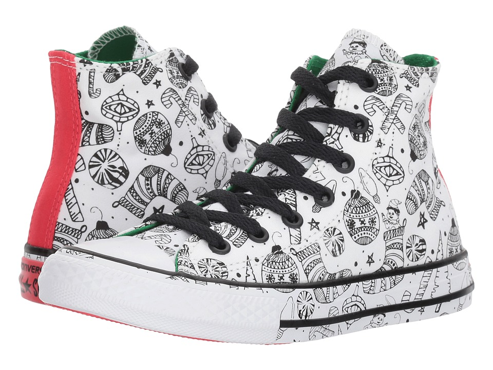 Converse Kids Chuck Taylor All Star Holiday Coloring Book Hi (Little Kid/Big Kid) (White/Green/Siren Red) Girls Shoes