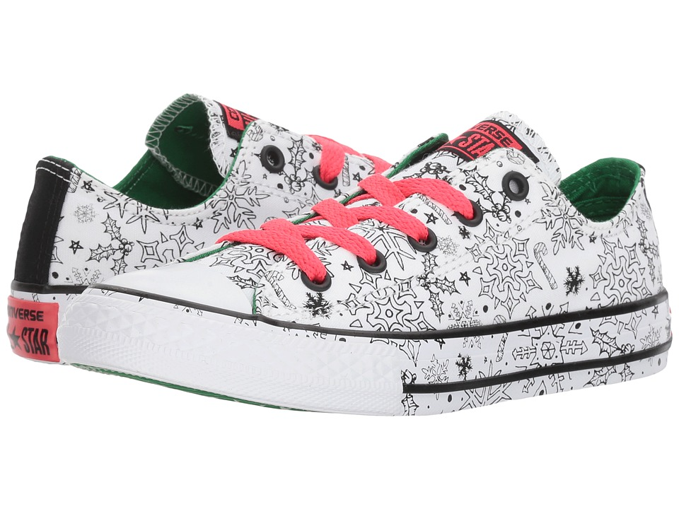 Converse Kids Chuck Taylor All Star Holiday Coloring Book Ox (Little Kid/Big Kid) (White/Green/Siren Red) Girls Shoes