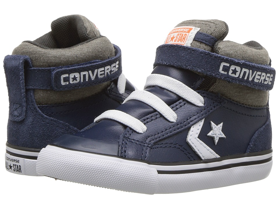 Converse Kids Pro Blaze Strap Leather and Suede Hi (Infant/Toddler) (Navy/Storm Wind/White) Boys Shoes