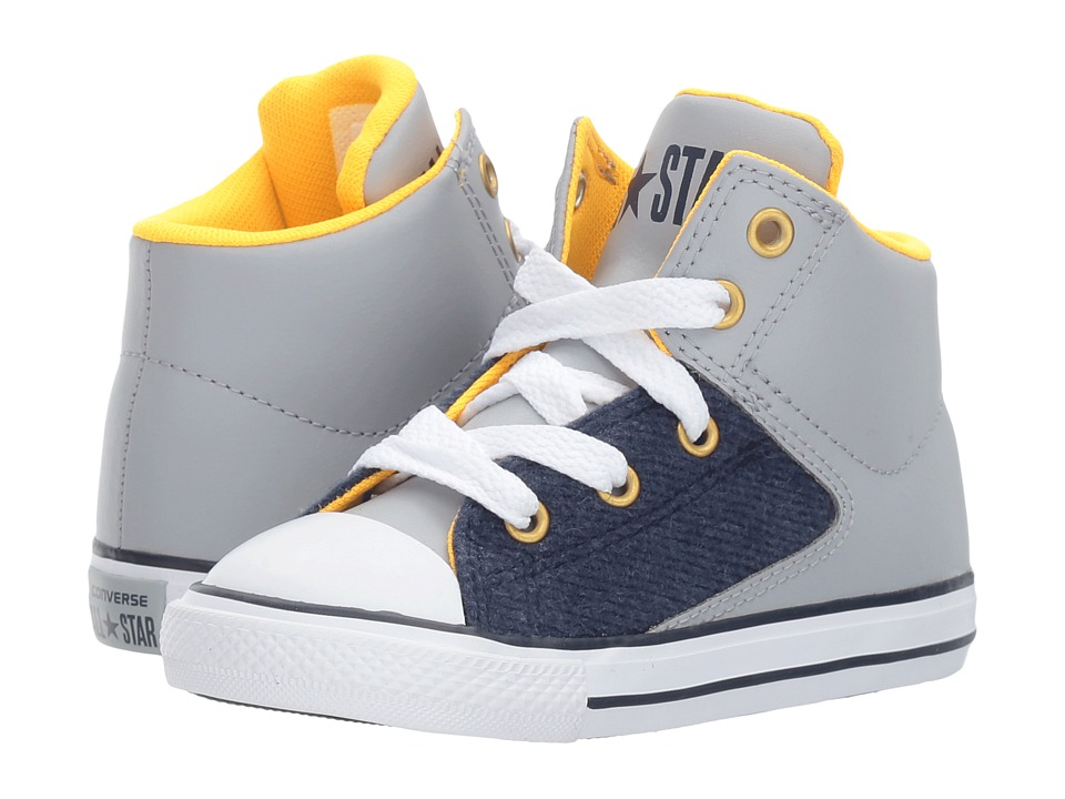 Converse Kids Chuck Taylor All Star High Street Hi (Infant/Toddler) (Wolf Grey/Midnight Navy/White) Boys Shoes