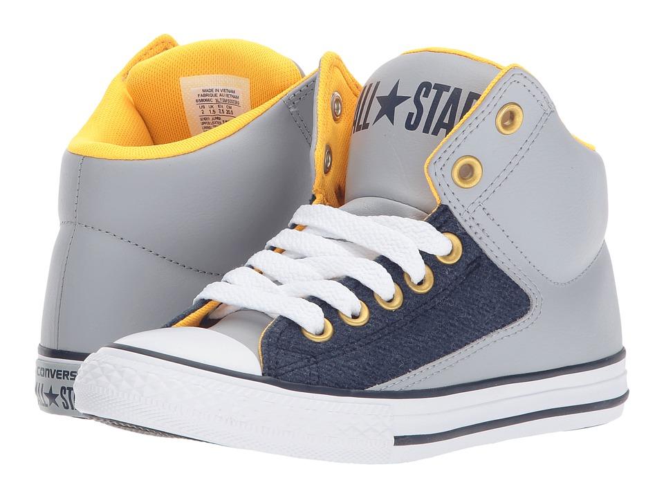 Converse Kids Chuck Taylor All Star High Street Hi (Little Kid/Big Kid) (Wolf Grey/Midnight Navy/White) Boys Shoes