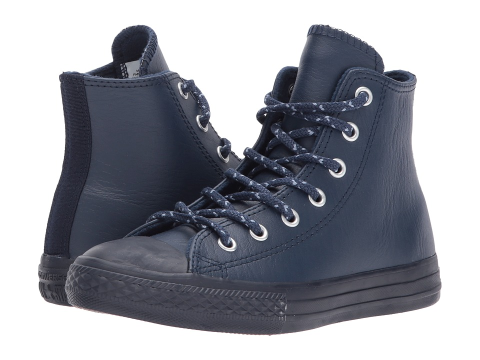 Converse Kids Chuck Taylor All Star Leather + Thermal Hi (Little Kid) (Midnight Navy/Blue Slate/Inked) Boys Shoes