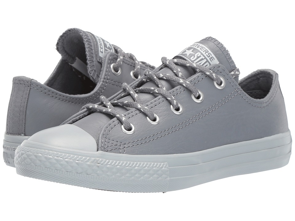Converse Kids Chuck Taylor All Star Leather + Thermal Ox (Little Kid) (Cool Grey/Pure Platinum) Boys Shoes