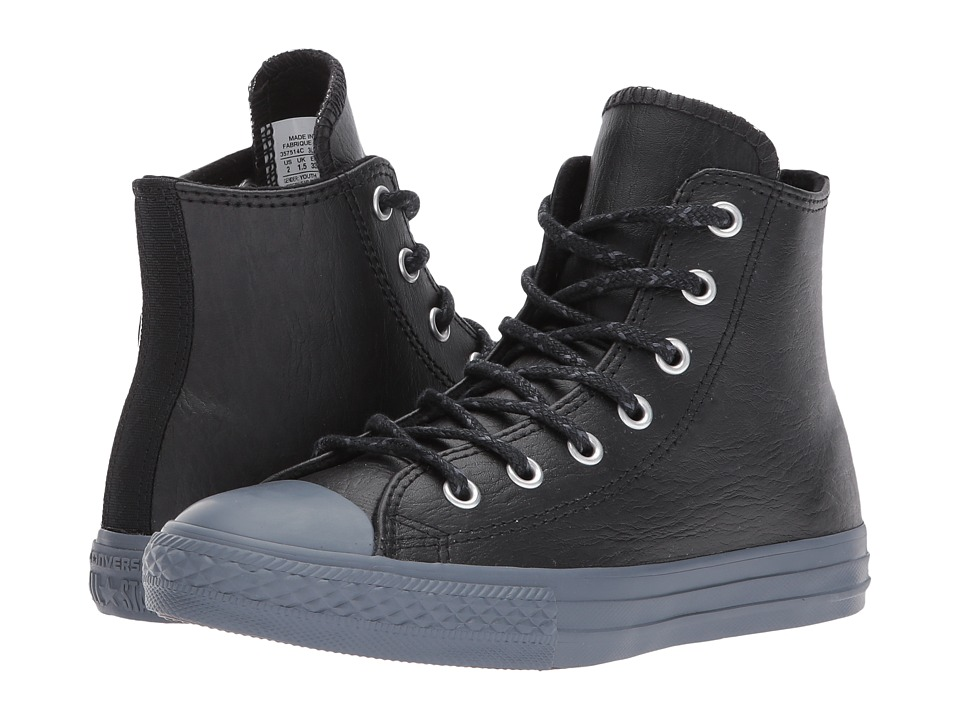 Converse Kids Chuck Taylor All Star Leather + Thermal Hi (Little Kid) (Black/Black/Sharkskin) Boys Shoes