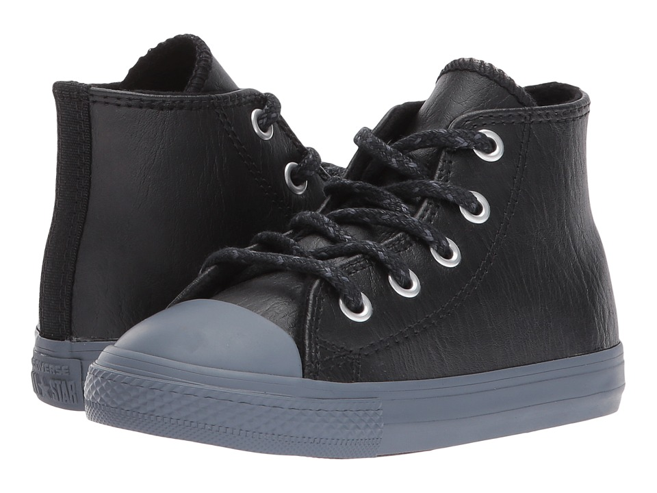 Converse Kids Chuck Taylor All Star Leather + Thermal Hi (Infant/Toddler) (Black/Black/Sharkskin) Boys Shoes