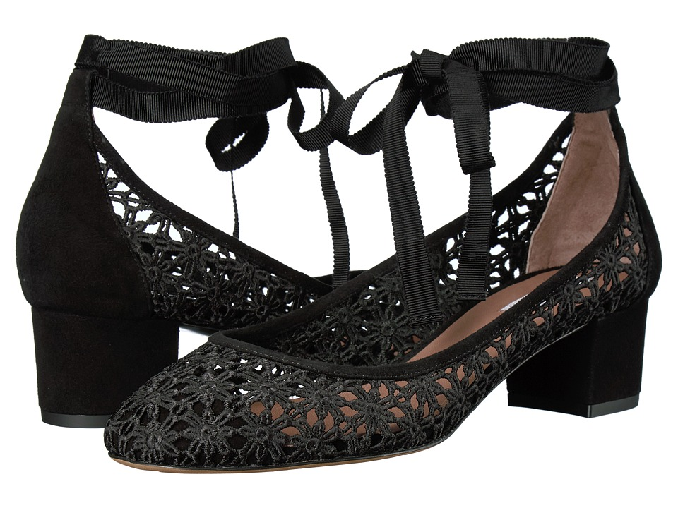 Tabitha Simmons - Minnie Daisy (Black Daisy Crochet/Black Kid Suede) Women's 1-2 inch heel Shoes