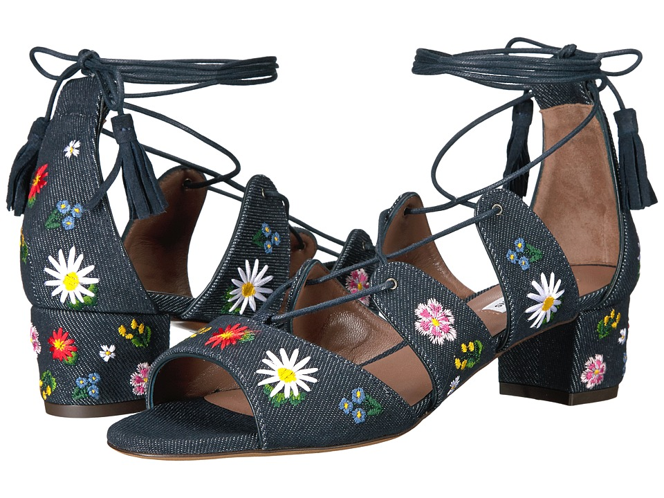 Tabitha Simmons - Isadora Flower Embroidered (Indigo Denim/Multicolor Embroidery) Women's 1-2 inch heel Shoes