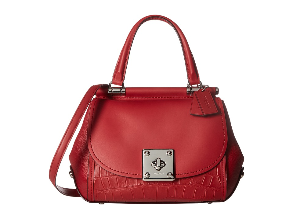 COACH - Exotic Mixed Leather Drifter Top-Handle (Red Currant) Top-handle Handbags