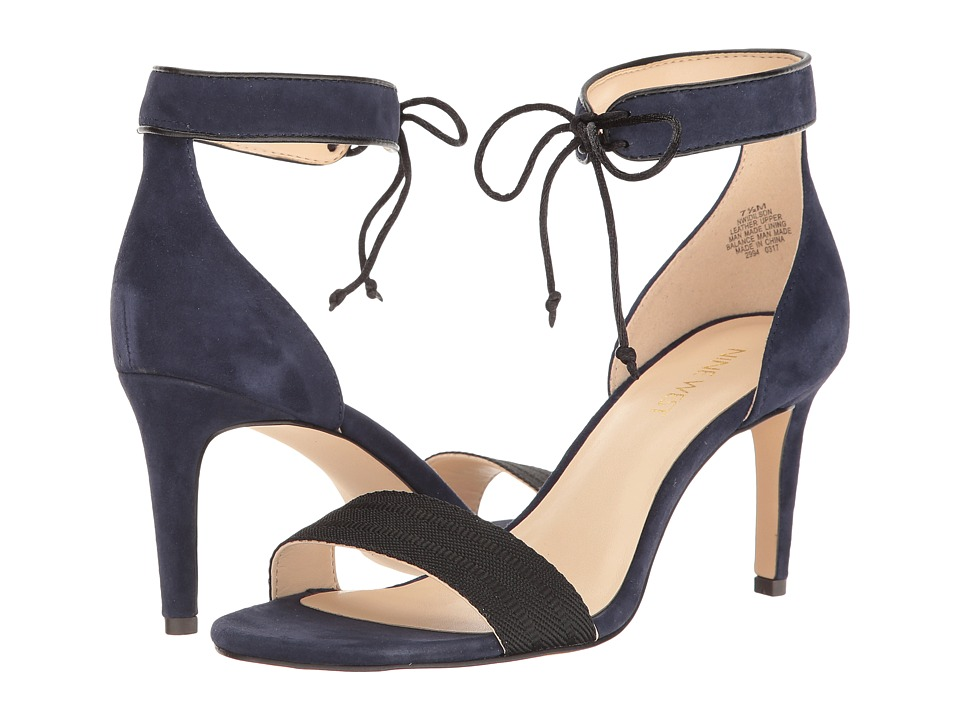 Nine West - Idilson (Moody Blue Isa Kid Suede/Black Military Trim/Moody Blue Fez Napp) High Heels