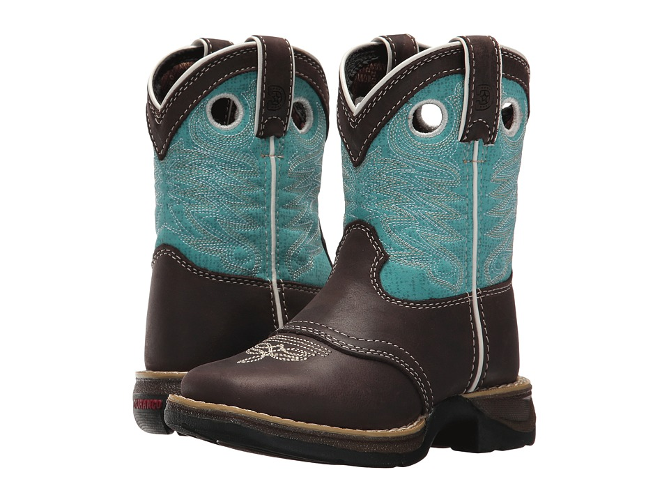 Durango Kids Lil Rebel 7 Western (Toddler/Little Kid) (Dark Brown/Turquoise) Cowboy Boots