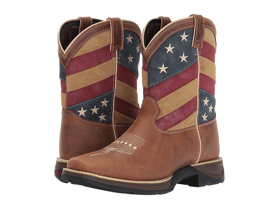 Durango Kids - Lil Rebel 7 Patriotic Western (Big Kid) (Brown/Patriotic) Kids Shoes