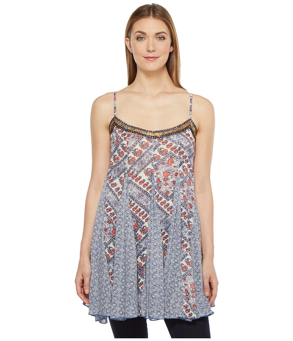 Brigitte Bailey - Dena Spaghetti Strap Top with Beading (Blue/Red) Women's Clothing