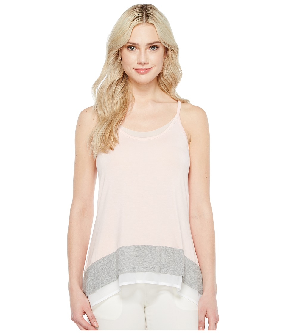 Ivanka Trump - Sleeveless Knit Hanky Hem Tank Top (Blush/Grey) Women's Sleeveless