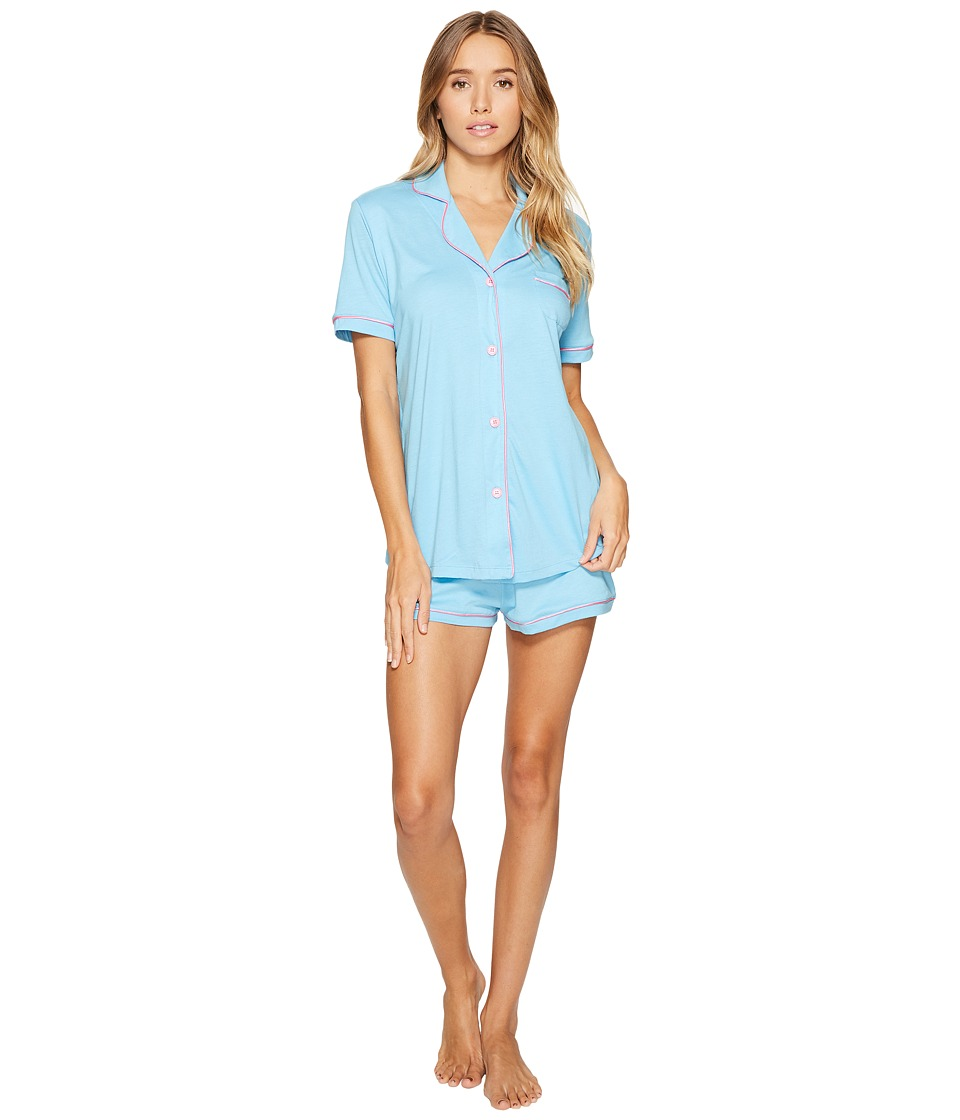 Cosabella - Bella S/S Top Boxer Pajama Set (Blue Bird/Pink Lemonade) Women's Pajama Sets