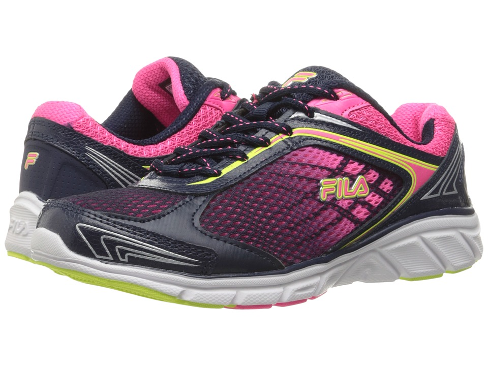 Fila - Memory Narrow Escape (Fila Navy/Knockout Pink/Safety Yellow) Women's Shoes