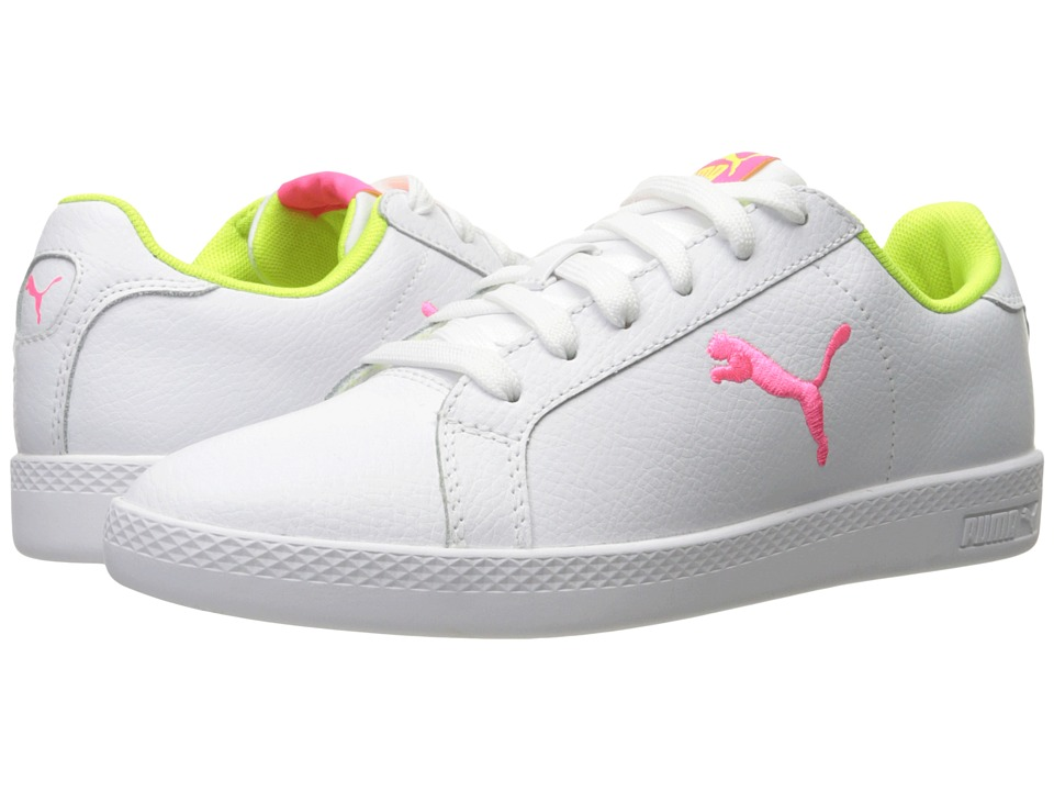 PUMA - Puma Smash Cat L (Puma White/Knockout Pink/Safety Yellow) Women's Shoes