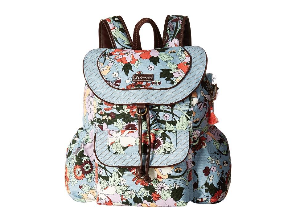 Sakroots Sakroots Artist Circle Flap Backpack (Sky Blue Flower Power) Backpack Bags