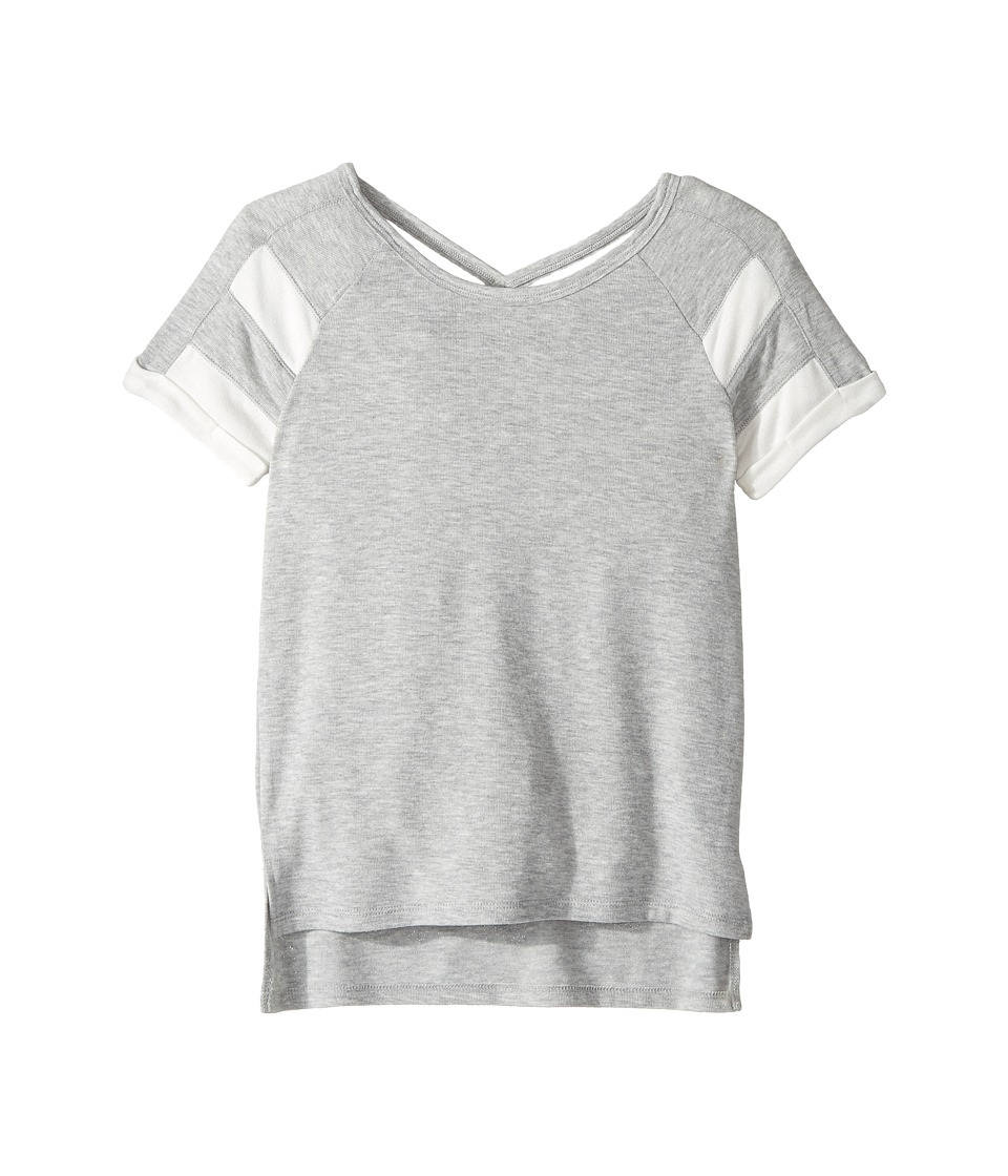 Splendid Littles - Loose Knit Football Top (Big Kids) (Grey Heather) Girl's Clothing