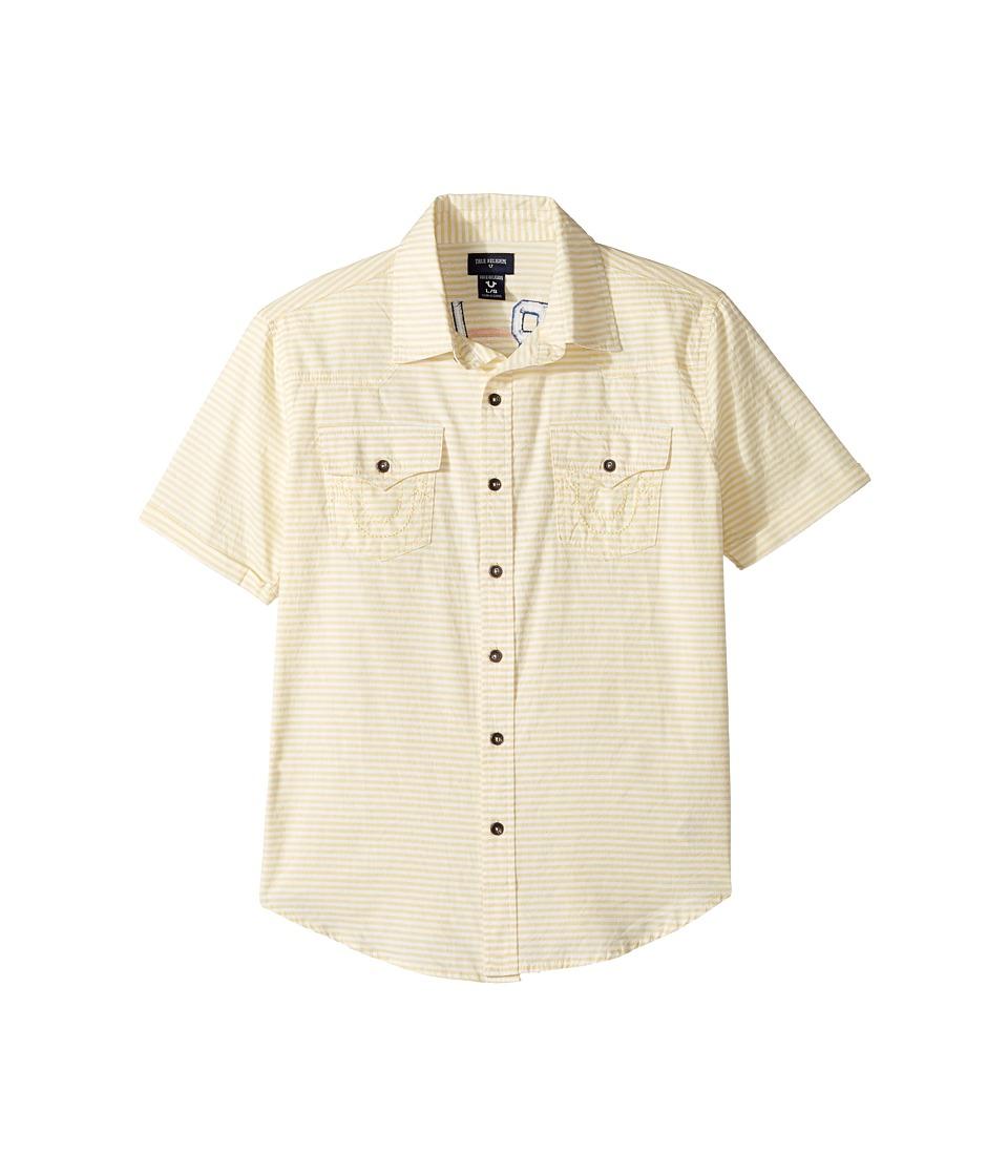 True Religion Kids - Woven Stripe Shirt (Big Kids) (White) Boy's T Shirt
