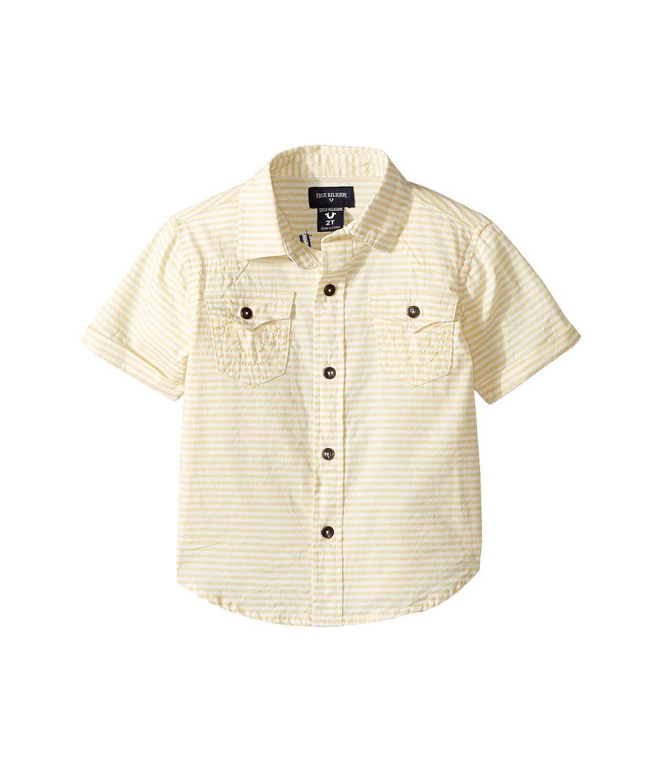 True Religion Kids - Woven Stripe Shirt (Toddler/Little Kids) (White) Boy's T Shirt