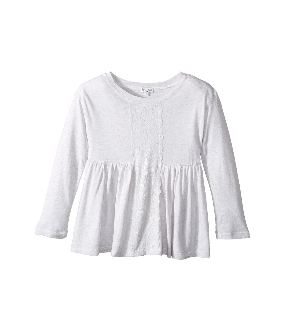 Splendid Littles - Long Sleeve Top with Lace Insert (Little Kids) (Light Grey) Girl's Clothing