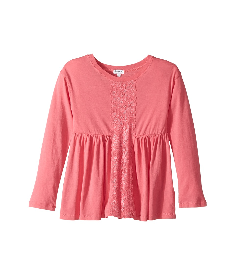Splendid Littles - Long Sleeve Top with Lace Insert (Little Kids) (Pink) Girl's Clothing