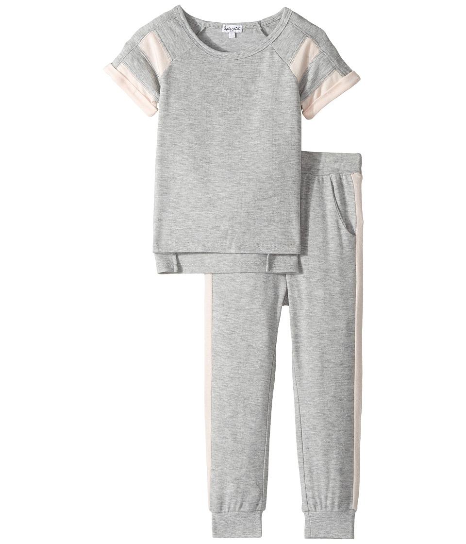 Splendid Littles - Loose Knit Football Sweat Set (Little Kids) (Grey Heather) Girl's Active Sets