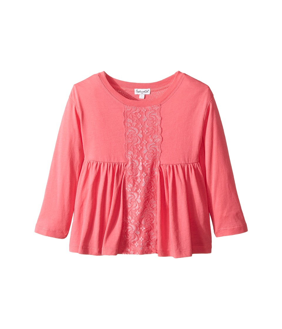 Splendid Littles - Long Sleeve Top with Lace Insert (Toddler) (Pink) Girl's Clothing