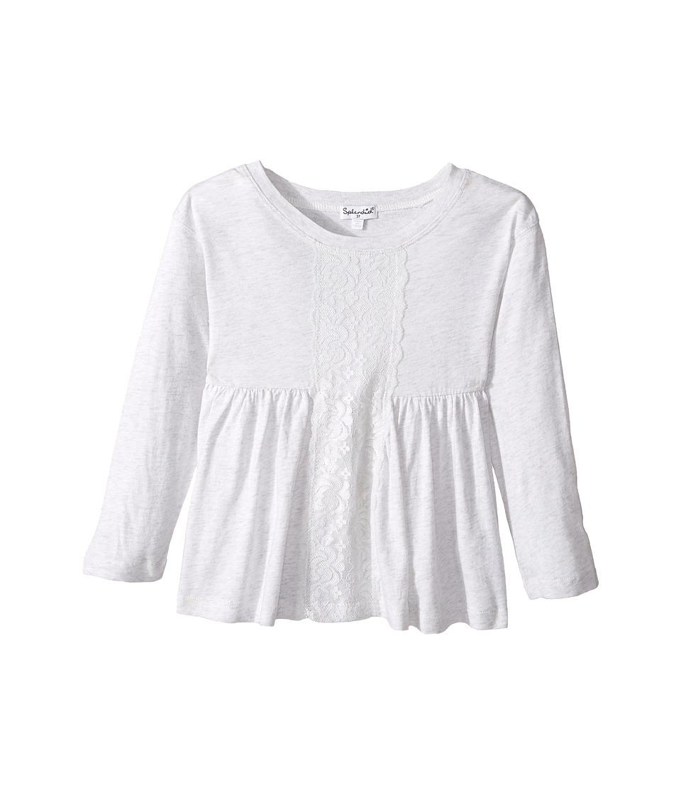 Splendid Littles - Long Sleeve Top with Lace Insert (Toddler) (Light Grey) Girl's Clothing