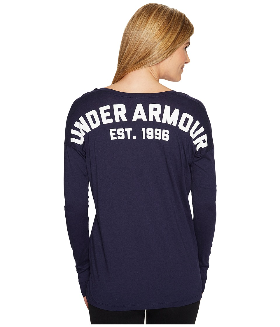 Under Armour PS Favorite Long Sleeve Wordmark Back (Midnight Navy) Women