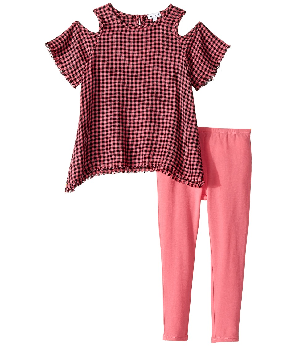 Splendid Littles - Yard-Dyed Plaid Cold Shoulder Set (Toddler) (Check) Girl's Active Sets