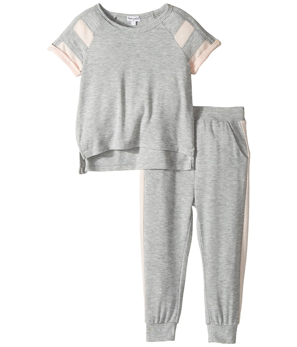 Splendid Littles - Loose Knit Football Sweat Set (Toddler) (Grey Heather) Girl's Active Sets