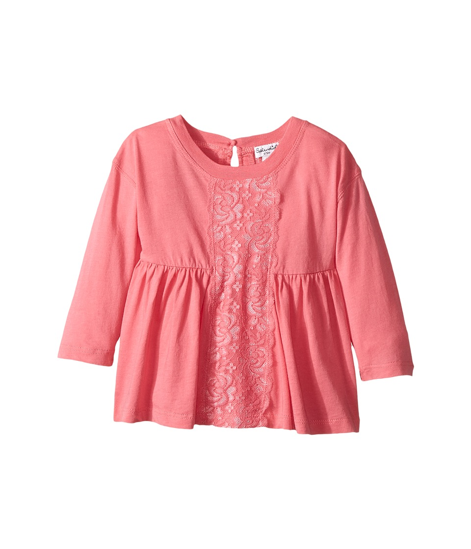 Splendid Littles - Long Sleeve Top with Lace Insert (Infant) (Pink) Girl's Clothing