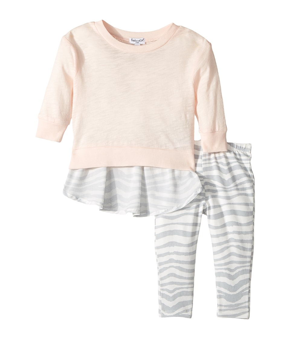 Splendid Littles - Zebra Printed Chiffon Back with Zebra Leggings Set (Infant) (Light Pink) Girl's Active Sets