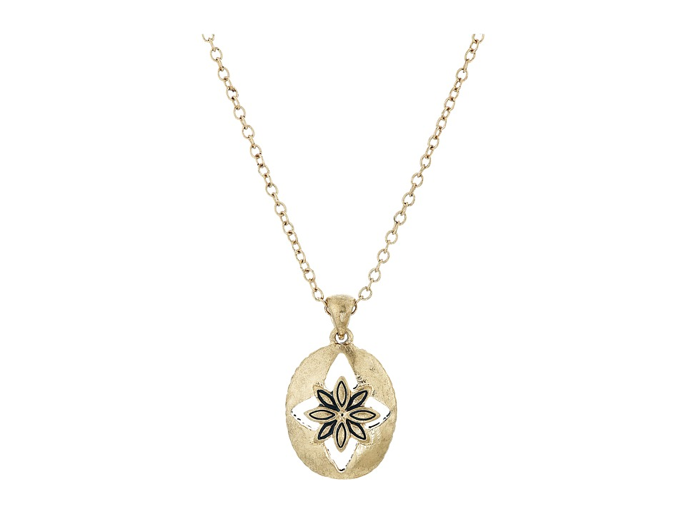 The Sak - Floral Oval Pendant Necklace 16 (Gold) Necklace